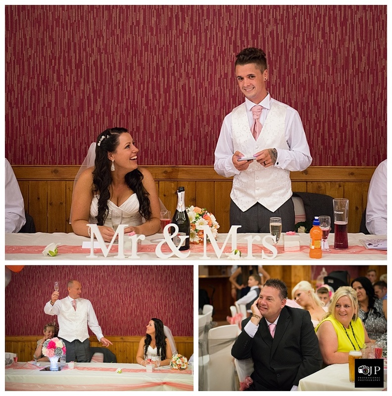 Photos of the groom saying a speech